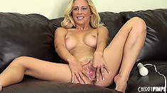 Cherie Deville vibrates her clit and spreads her lips and fingers