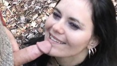 Slutty brunette reveals her lovely ass and gets fucked in the outdoors