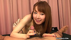 Japanese slut Minefuji Kou services cock with her feet and mouth