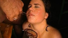 Saucy young model gets all horny while getting her mouth covered in cum