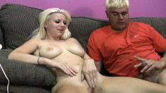 Busty Ami Jordan gets licked and toyed, sucks dick and gets cum on her tits