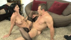 Roxanne Hall has a hung guy giving her the fuck she's been waiting for