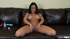 Capri Cavanni teases by groping and rubbing her gorgeous figure