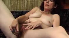 Granny still gets horny but has to finger and toy fuck herself