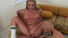 Two marvelous young blondes getting their hungry asses pounded rough