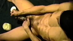 Hung black dude strokes his long dick until it explodes with pleasure