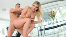 Voluptuous Jemma Valentine is in need of a hard pole banging her ass