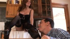 Horny dude begs to get his manhood worked with a hot girl's feet