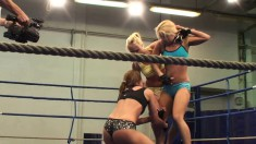 Lovely ladies love to wrestle and fight in the ring for some pussy
