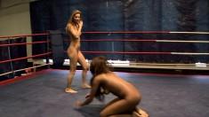 Cindy Hope and Keisha Kane wrestle hard and stick a tongue on a butthole