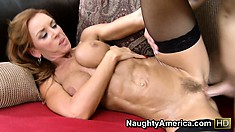 Janet Mason's big fake tits are about to collapse as he hammers her hard