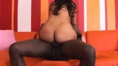 Curvaceous ebony girl Brown Sugar finds pure pleasure in a black pole