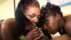 Two provocative ebony hookers take turns on Dwayne's long black pole