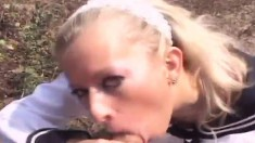 Platinum blonde Susan trades head and gets drilled out in the field