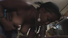 Enticing ebony cutie Latress enjoys a good spanking and a deep fucking