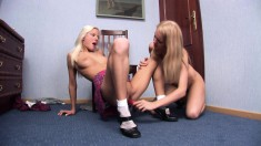 Naughty schoolgirls take turns fucking each other's slits with a dildo