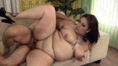 Fatty eats dick, gets her fat squeezed and cunny pumped hard