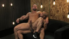 Hot ebony stud blows his white lover's dick and pounds his tight ass