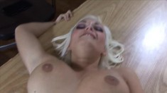 Big breasted blonde has a tattooed stud banging her pussy in casting