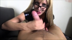 Amateur MILF handjob busty blonde wanks with enthusiasm