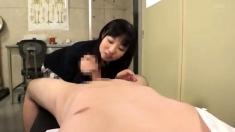 pretty japanese gives handjob and blowjob