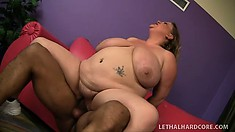 The curvy blonde cougar rides his big black shaft on her way to find intense pleasure