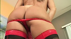 Nasty MILF with big bazongas wears sexy stocking in her solo
