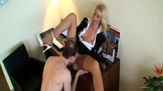 Sexy Women In Black Stockings Lick Pussy And Fuck Intensely