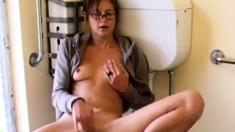 Masturbation solo of my brunette roommate in bathroom