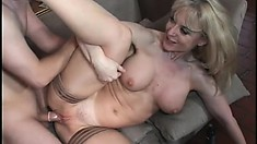Horny MILF Nina Hartley swallows a cock and gets drilled hard
