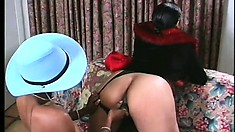 Africa and Samarra play dirty ebony cowgirls and ride the big dildo