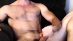 Hot gay with e-dildo shoot a load