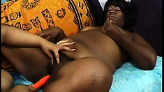 Two curvy ebony lesbians fulfill each other's sexual needs with the help of sex toys