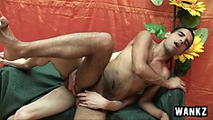 With every thrust of dick in his ass bareback, the hot boy sighs with delight