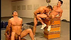 Massive groupie from a bunch of gay hunks with perfect bodies