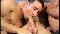 Two twinks talk this all American stud into a sweet gay three way