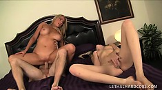 Blonde MILF and her younger girlfriend go to town on a big cock
