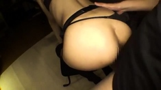 Asian girl in lingerie jerking sucking guy cock cum to ass o