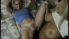 Uninhibited couple of blonde squirters have some fun on a sex bus