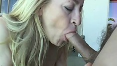 Nasty mature blonde is eager to stiffen his stick to slam her snatch