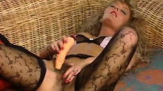 Pretty Vintage Milf In Stockings Playing With Herself
