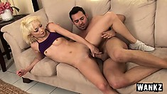 Petite blonde Moretta gags while going down on a massive meat stick