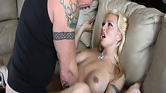 Busty young blonde chick gets wet while having her asshole plowed