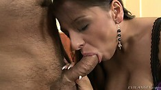 Big tit Angel blows an old dude's bone, feet fucks, ass fucks and goes ATM