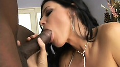 Slim brunette milf with lovely tits reveals her passion for black cock