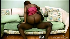 Naughty ebony squirter begs to choke on a vigorous black love stick