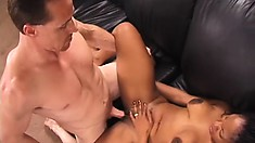 Saggy tit ebony eats his white cock and gets fucked before going anal