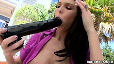 Marvelous brunette with huge tits can't get enough of a big dildo and a big cock