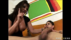 Brunette pornstar Ava Devine getting her shaved muff hammered by a thick cock