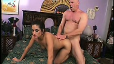 Filthy Asian puts her holes to work on a huge throbbing cock